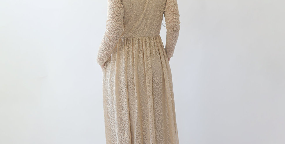 Curve & Plus Size  Champagne Boho Wedding Dress With Pockets #1269