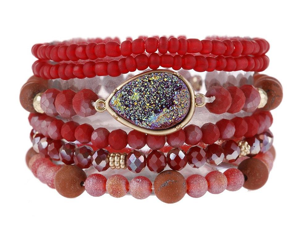 Hdb2950b - Teardrop Druzy Mixed Beads Bracelet
