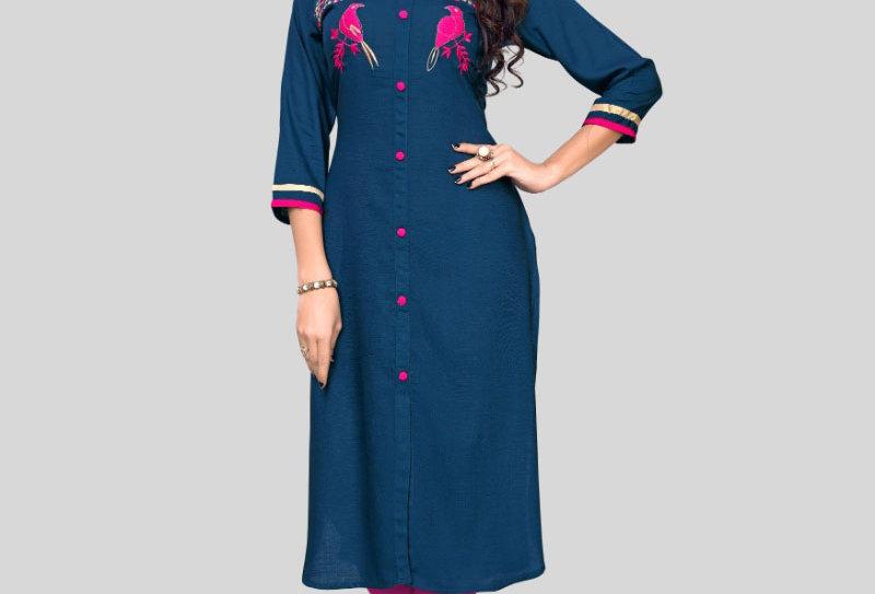 Women's Rayon Embroidered Kurti (Blue)