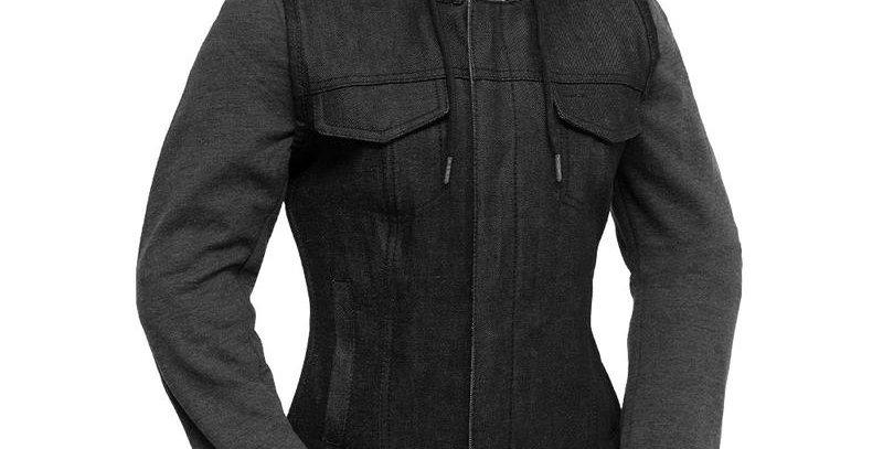 MKL - Women's Denim Motorcycle Vest With Removable Sweatshirt