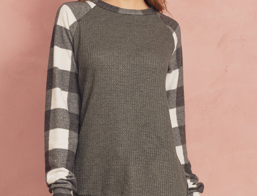 Plaid Contrast Long Sleeved Waffle Brush Top