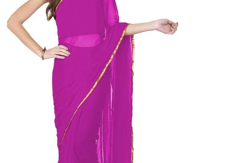 Women's Chiffon Saree (Pink, 5-6 Mtrs)