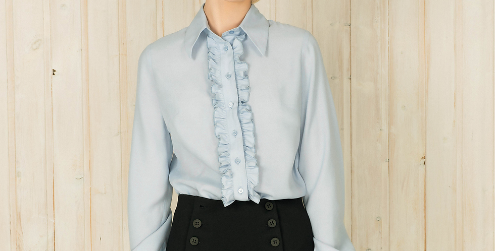 Blue Ruffle Button Down Shirt
