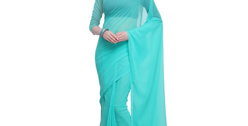Women's Dyed Saree(Seablue,5-6 Mtrs)
