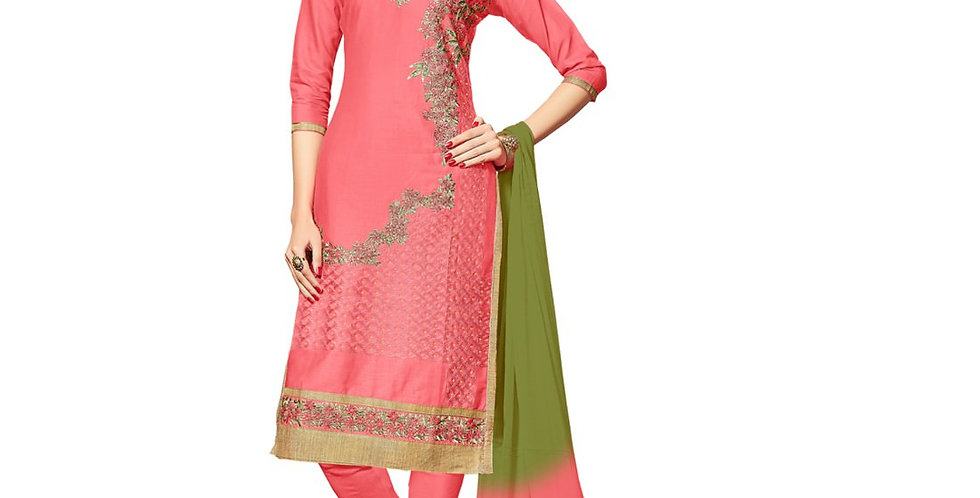 Glaze Cotton Fabric Light Red Color Dress Material