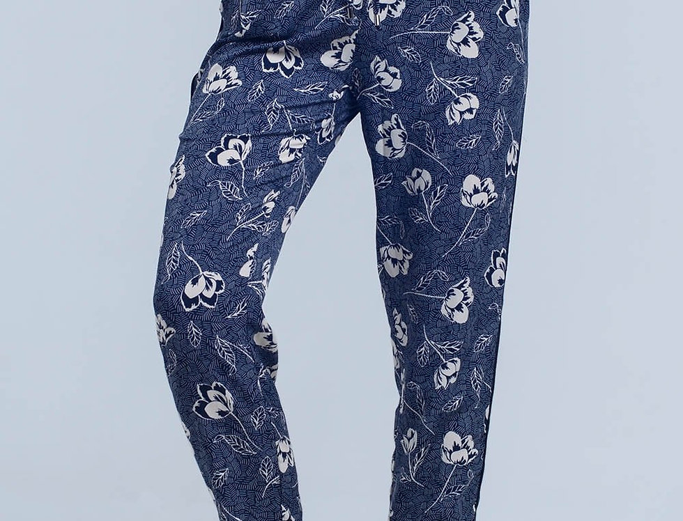 Navy Blue Pants With Floral Print