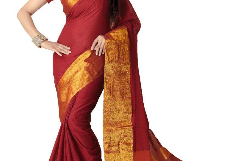 Generic Women's Handloom Mersirized Cotton Saree (Red, 5.5-6mtrs)