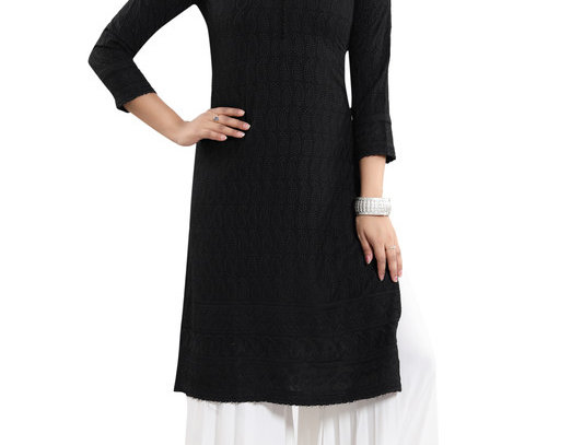Women's Rayon Embroidered Straight Kurti-Black