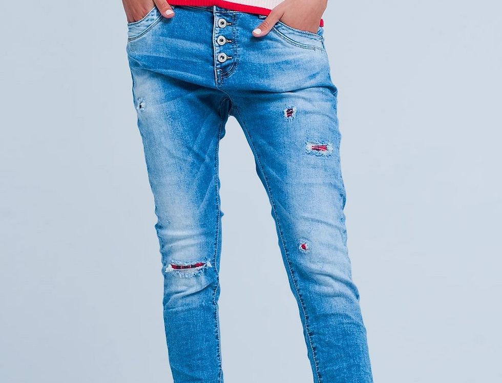 Distressed Skinny Boyfriend Jeans