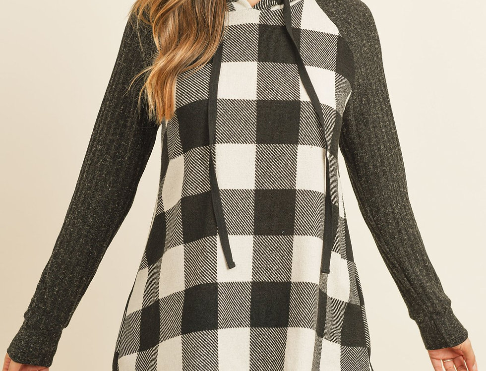 Knit Long Sleeved Plaid Top With Drawstrings