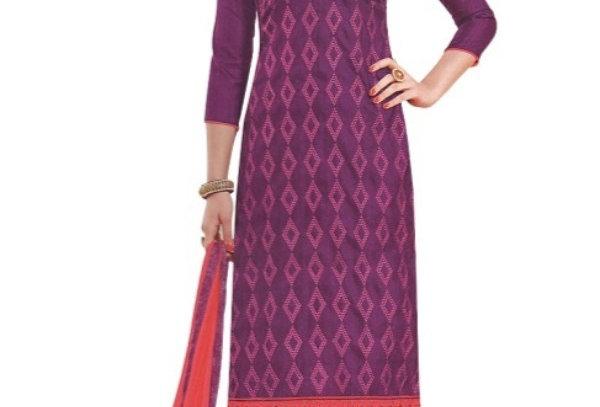 Purple Embroidered Bhagalpuri Unstitched Silk Dress Material For Women