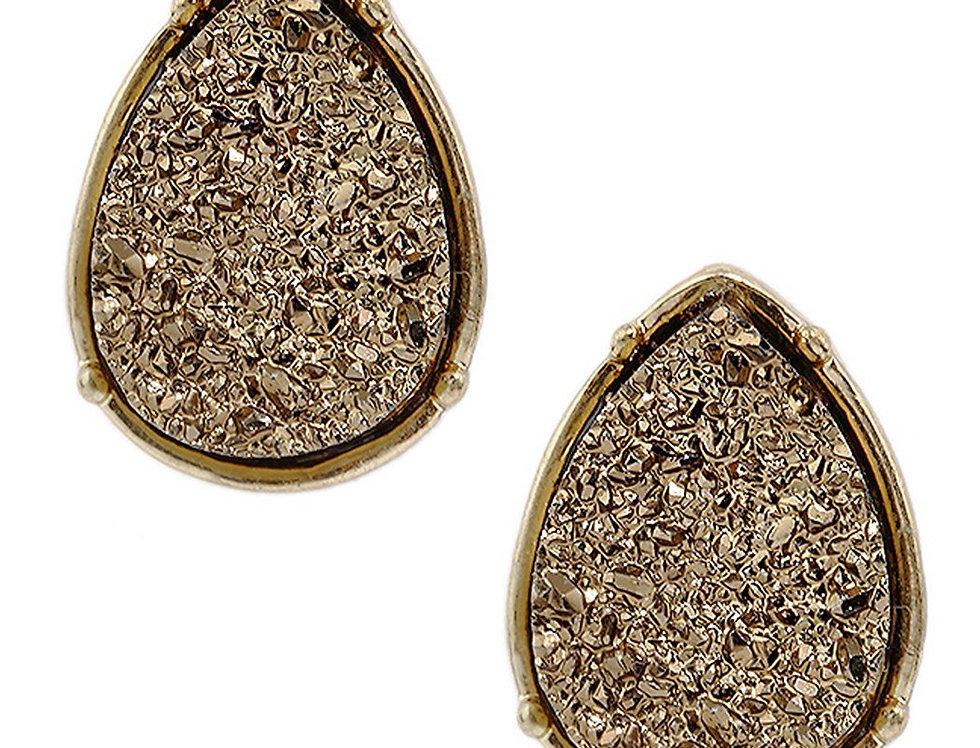 Druzy Teardrop Post Earrings