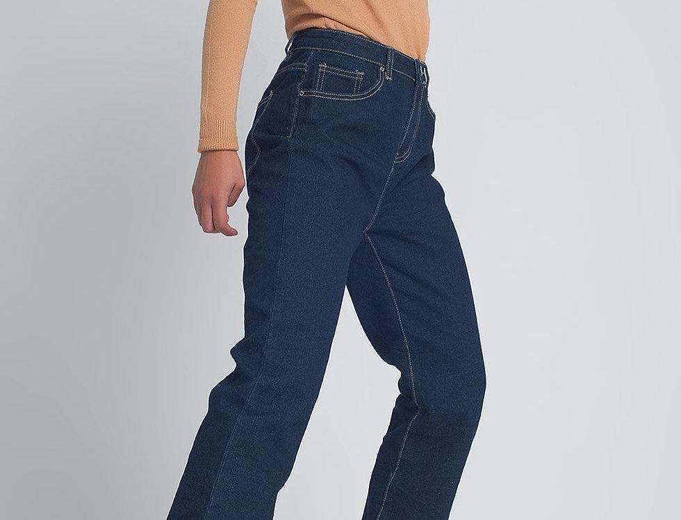 High Rise Straight Cut Jeans in Dark Blue