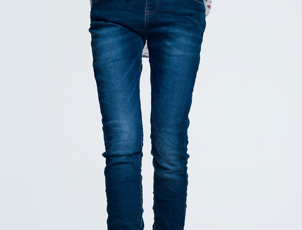 Baggy Jean With Draw Cord Dark Wash Blue