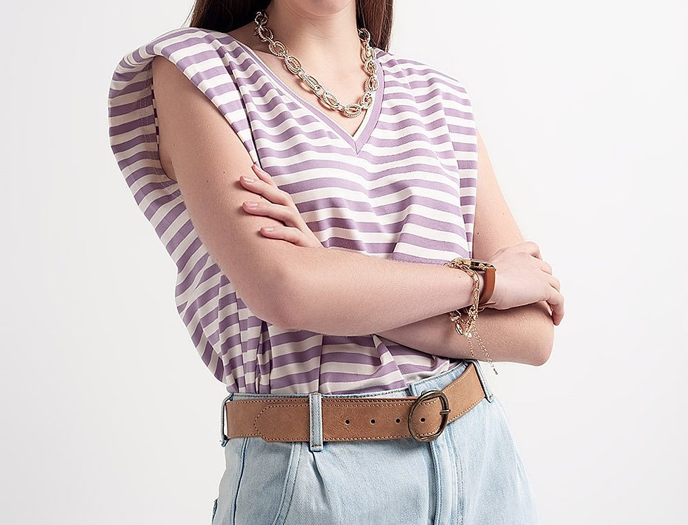 Sleeveless T-Shirt With Shoulder Pad in Purple Stripe