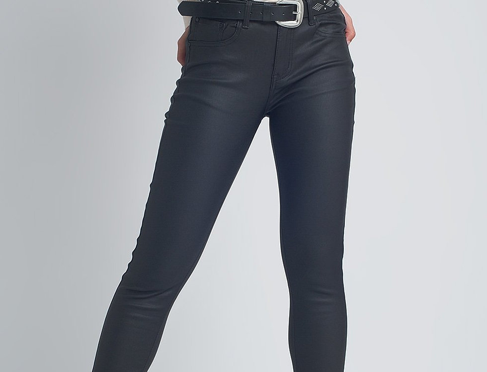 Faux Leather Skinny Trousers in Black Colour