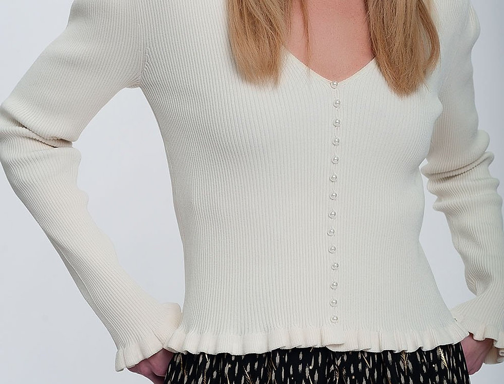 Jersey With Pearl Front in Cream
