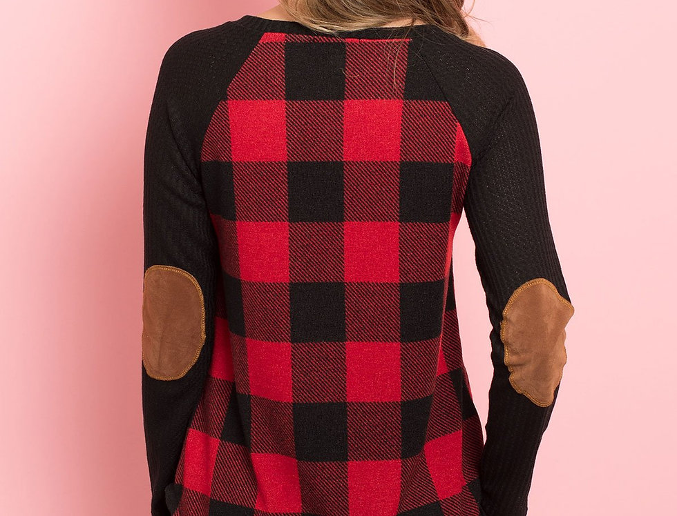 Elbow Patched Rib Detail Sleeve Plaid Top