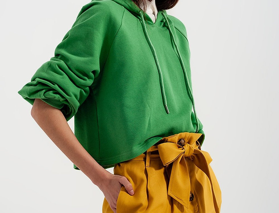 Crop Hoodie With v Neck in Green