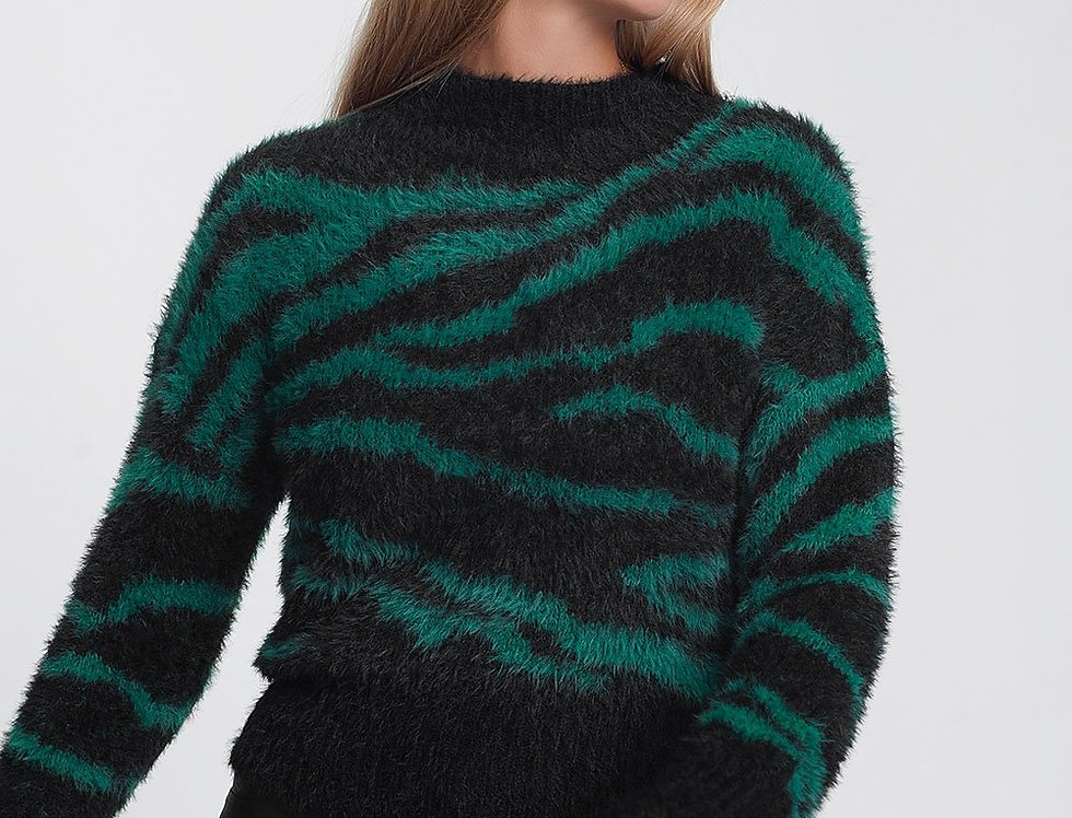 Fluffy High Neck Sweater With Stripes in Green