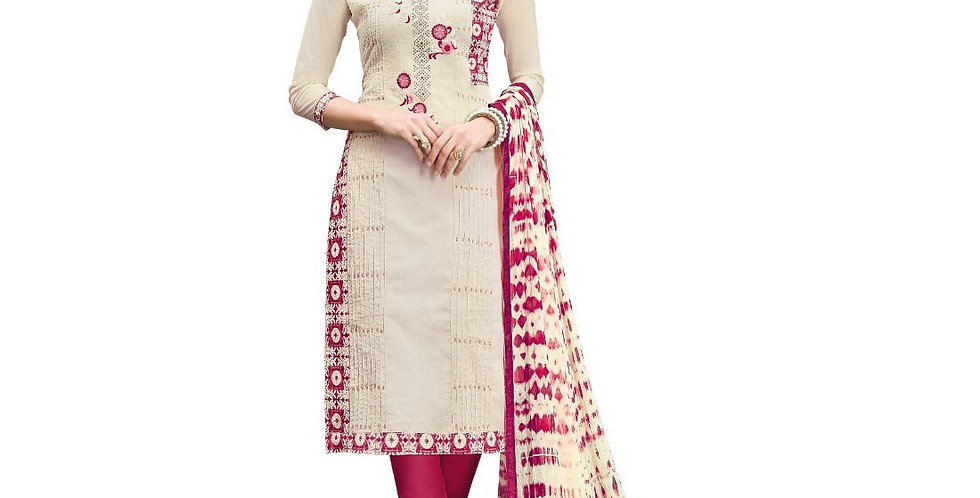 Chanderi Cotton Fabric Cream  Color Dress Material