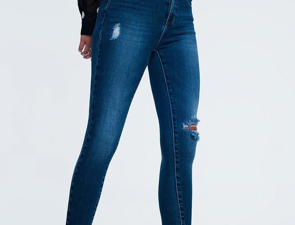 Blue Destroyed Skinny Jeans