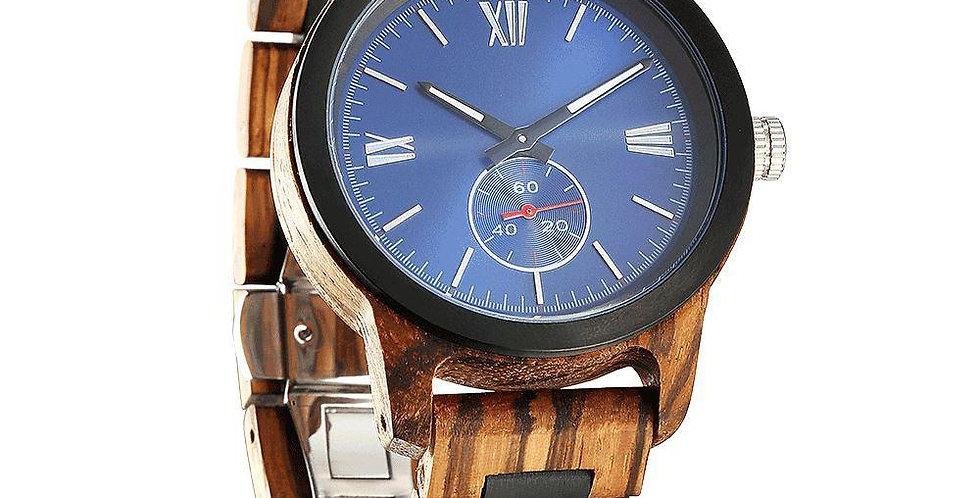 Men's Handcrafted Engraving Zebra Ebony Wood Watch - Best Gift Idea!