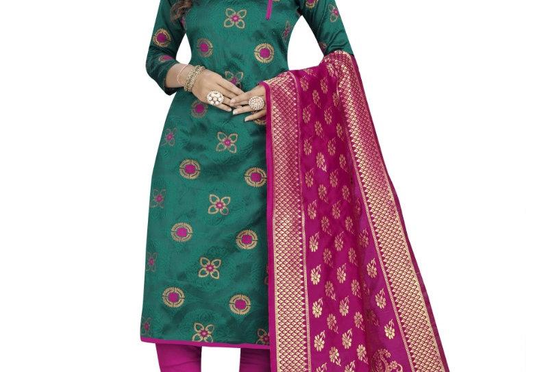 Women's Cotton Silk Blend Salwar Material(Rama Green, 2.5 Mtrs)