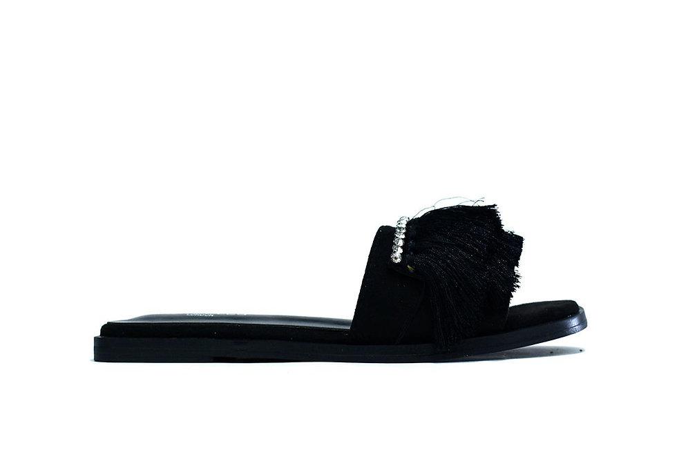Hot Soles London Faux Fur Sliders Black