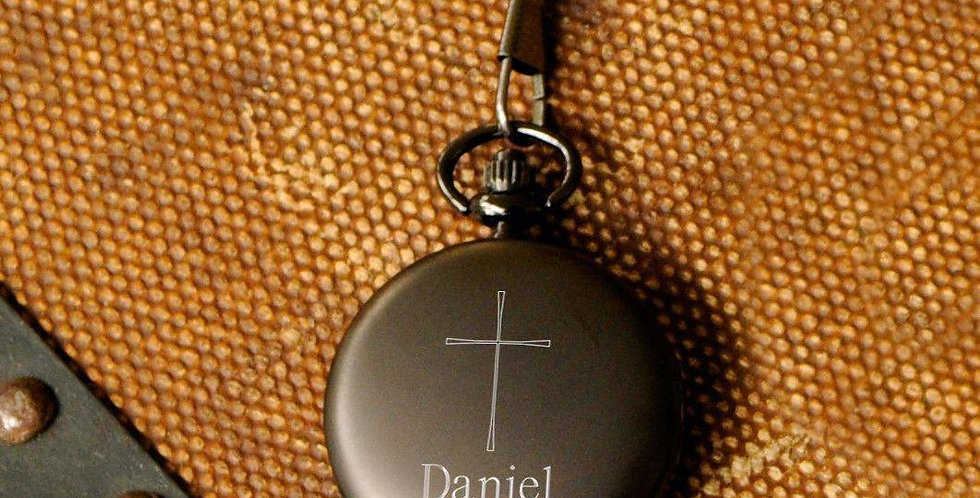 Inspirational Engraved Cross Pocket Watch