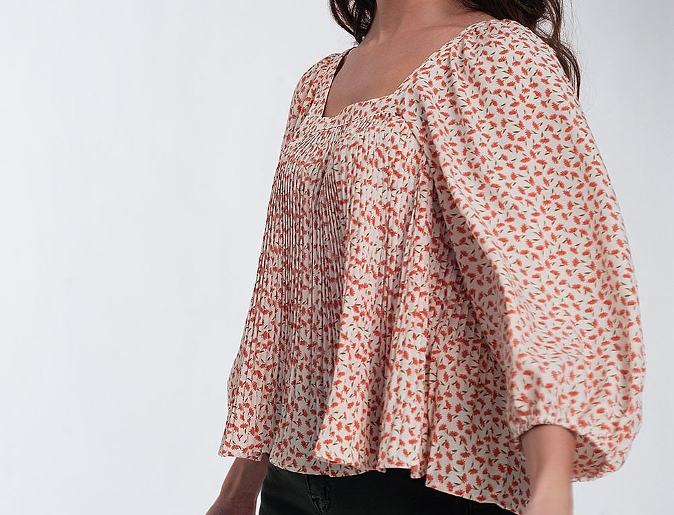 Puff Sleeve Top With Square Neck in Coral Floral Print