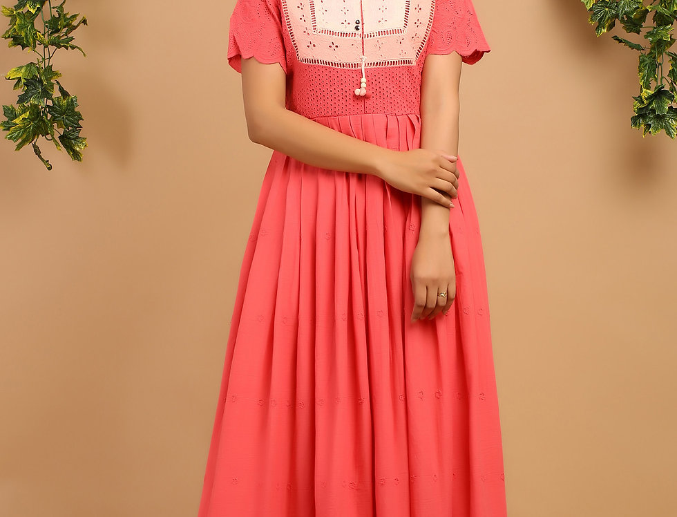 Cotton Shifley Gown with Buttons & Tussels