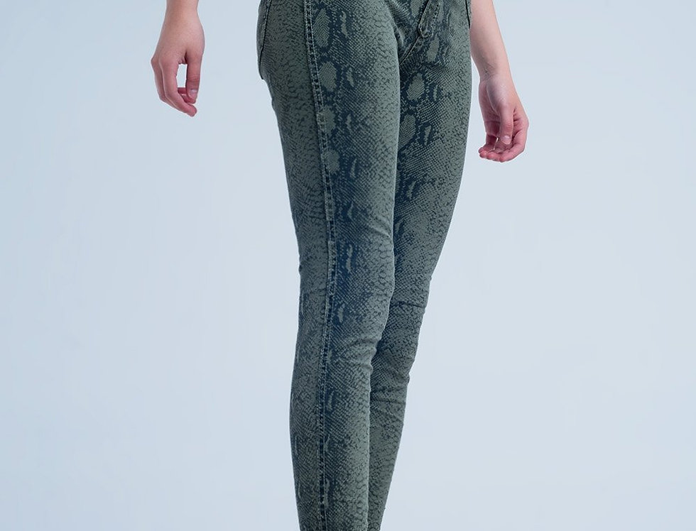 Green Skinny Reversible Jeans With Snake Print