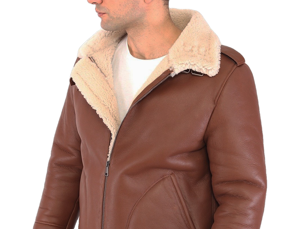 Davis Men's Natural Shearling Real Fur Leather Coat
