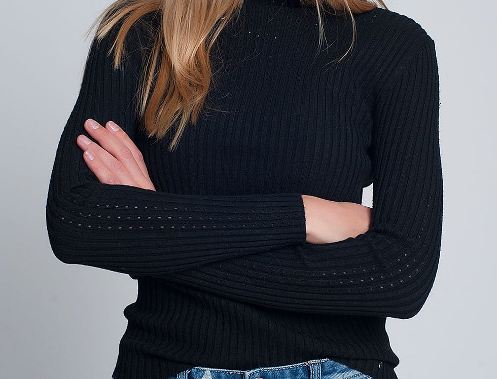 Ribbed Jumper With High Neck in Black