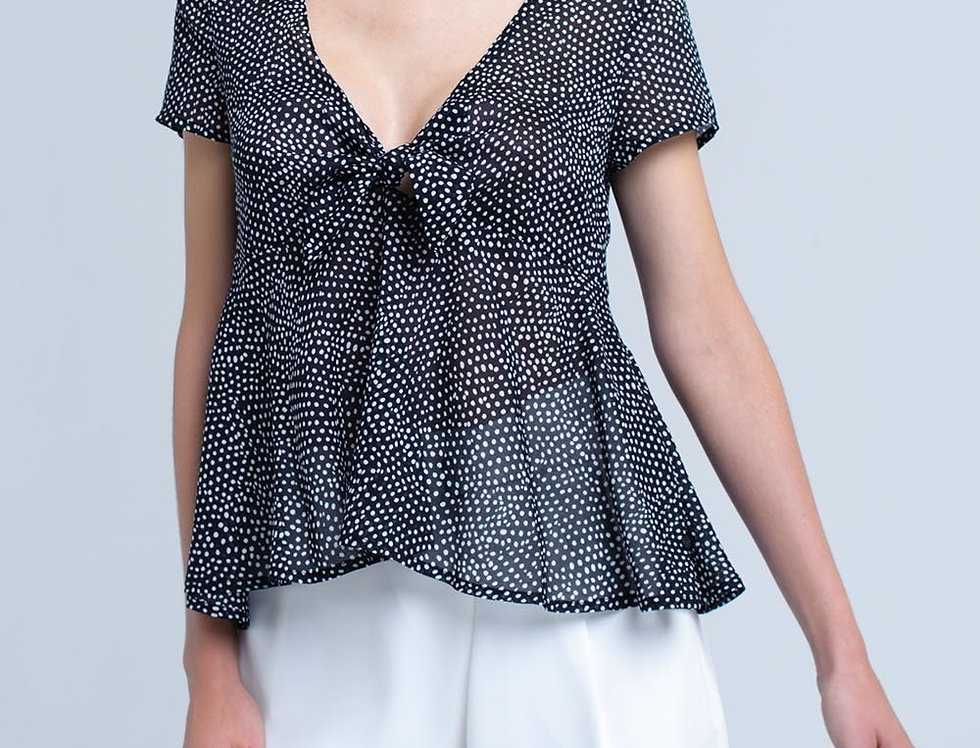 Black Polka Dot Top With Ruffle Hem