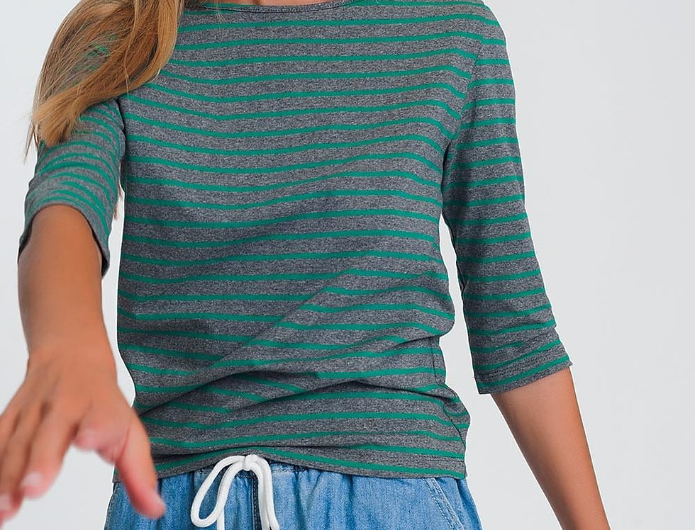 3/4 Sleeve Stripe T-Shirt With Boat Neck in Green