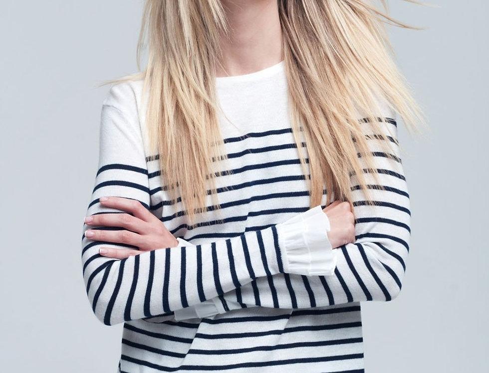Navy Striped White Shirt
