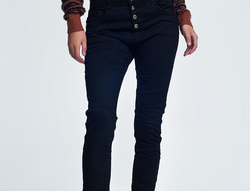 Black Jeans With Button Closure