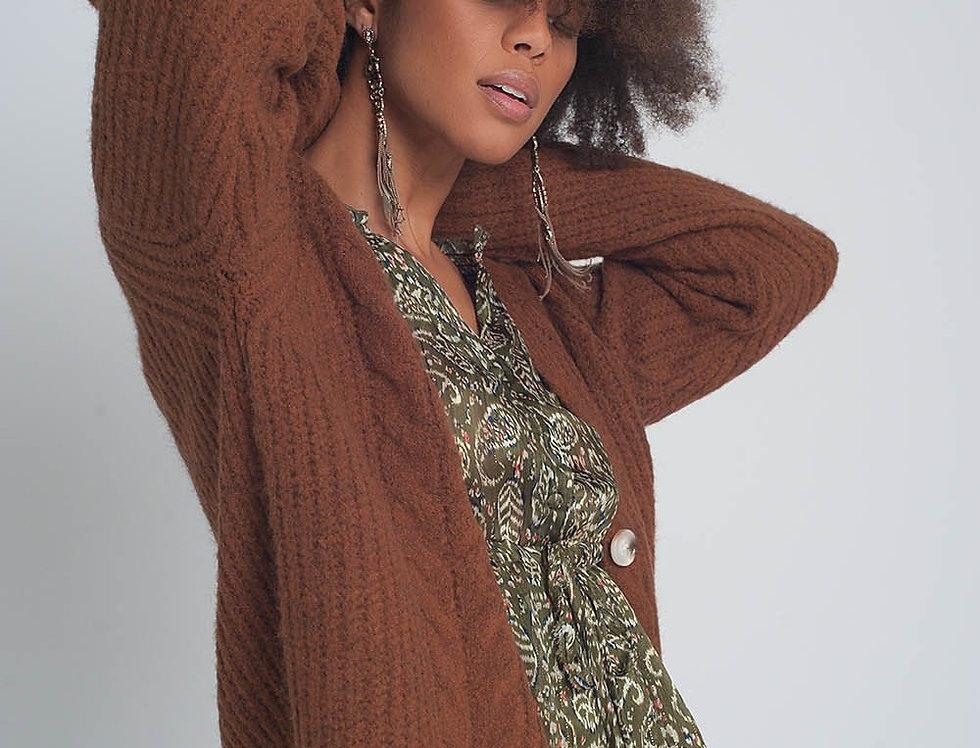 Chunky Knit Cardigan in Brown
