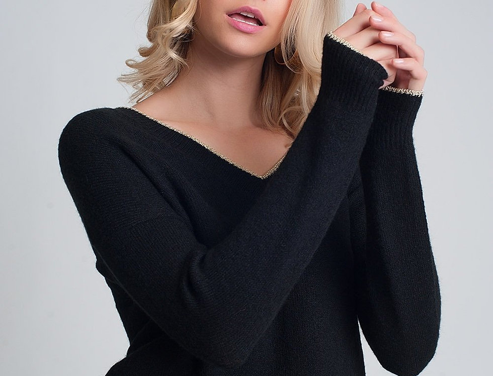 Black Sweater With Long Sleeves v Neck With Golden Hem