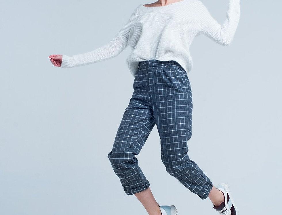 Grey Pants in White Check Print