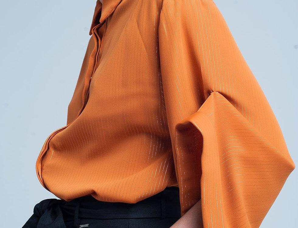 Mustard Oversized Shirt With Lurex Details