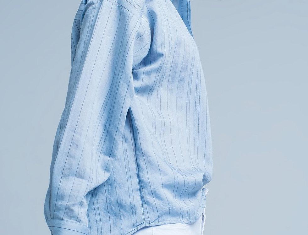 Blue Shirt With Thin Black Stripes