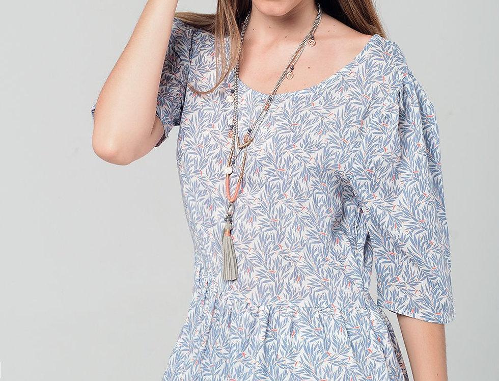 Grey Midi Dress With Leaves Print