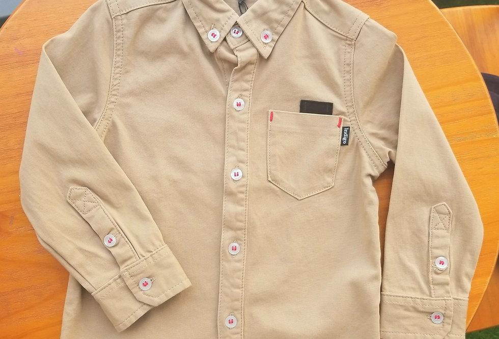 Kids Button Up Shirt Camel