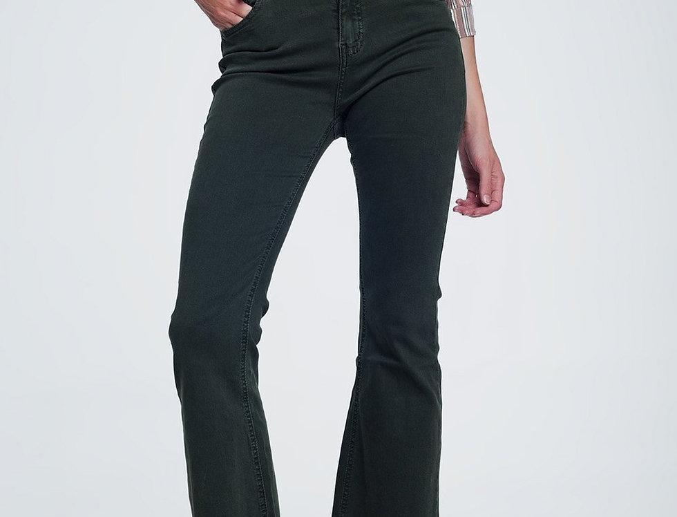 High Rise Raw Hem Flared Jeans in Khaki