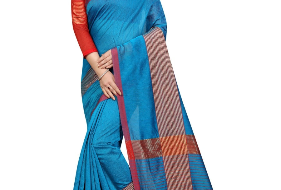 Women's Cotton Saree With Blouse (Sky Blue, 5-6 Mtrs)
