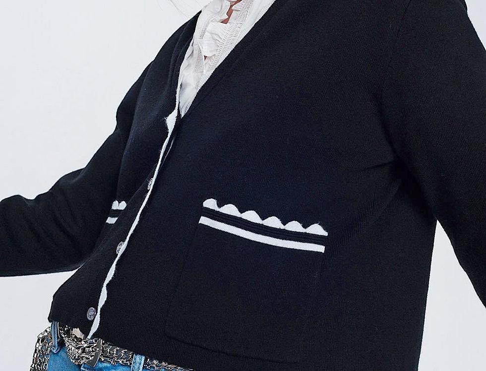 Contrast Trim Cardigan in Black