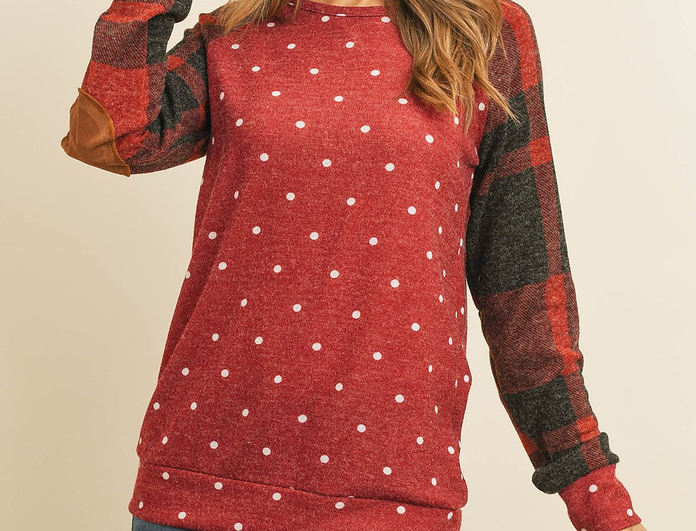 Plaid Long Sleeves Elbow Patched Polka Dot Top